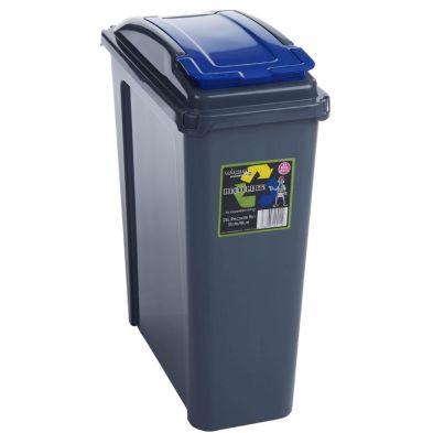 Slimline Recycle Bin GraphiteBlue 25ltr