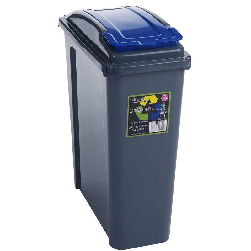 25ltr wham slimline recycle bin graphite blue buy. Black Bedroom Furniture Sets. Home Design Ideas