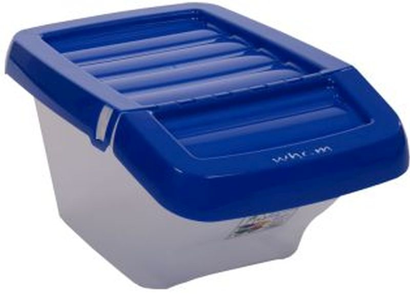 Recycle Bin Clear/Blue Hinged Lid 30Ltr