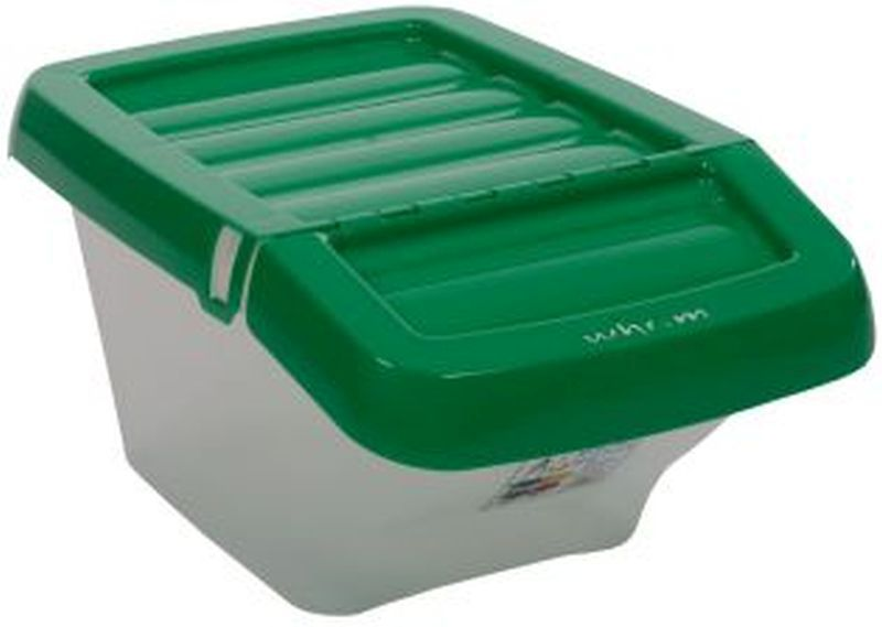 Recycle Bin Clear/Green Hinged Lid 30Ltr