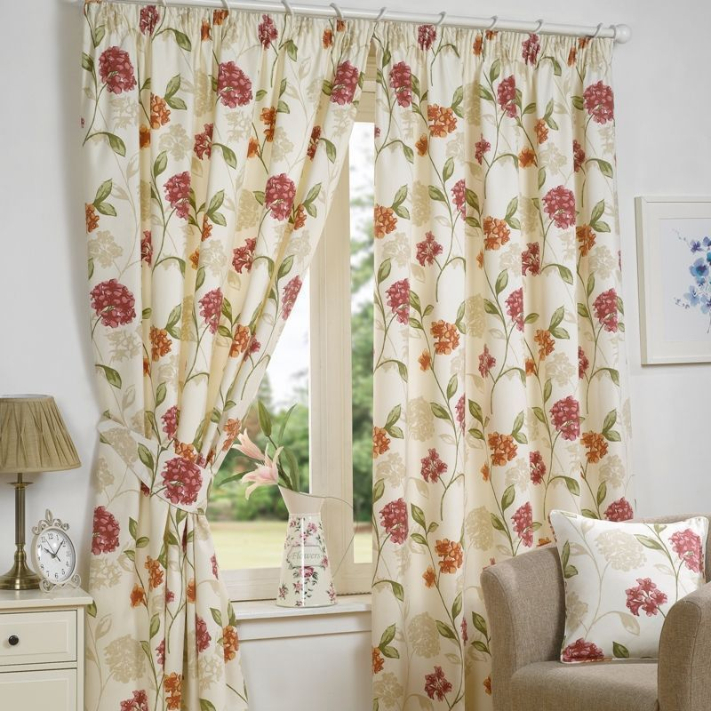 "Fusion Bouquet Curtains (45"" Width x 54"" Drop) - Pink"