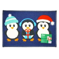See more information about the 60x40cm Christmas Themed Machine Washable Mat Penguins