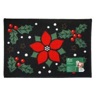 See more information about the 60x40cm Holly Christmas Themed Machine Washable Mat 40 x 60cm Poinsett