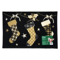 See more information about the Christmas Stockings Themed Machine Washable Mat Black 40 x 60cm