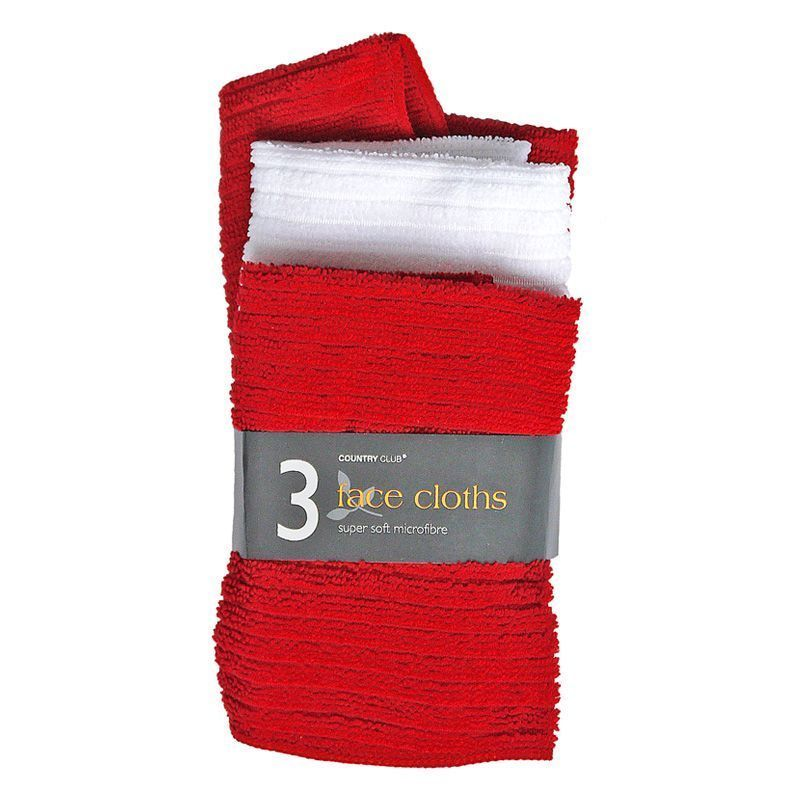 3 Pack Micro Soft Face Cloths - Red