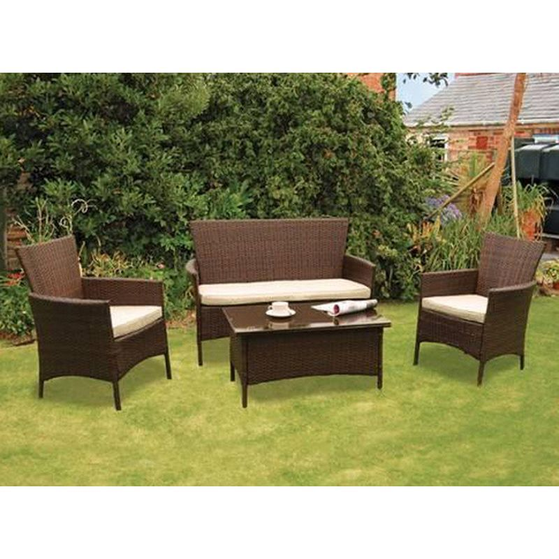 Kendal rattan 4 piece conservatory set garden furniture for Rattan garden furniture