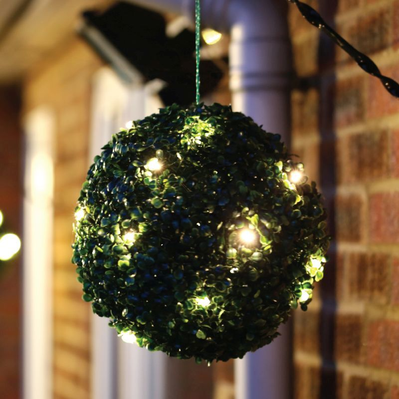 Solar 28cm Topiary Bush with 20 Warm LEDs
