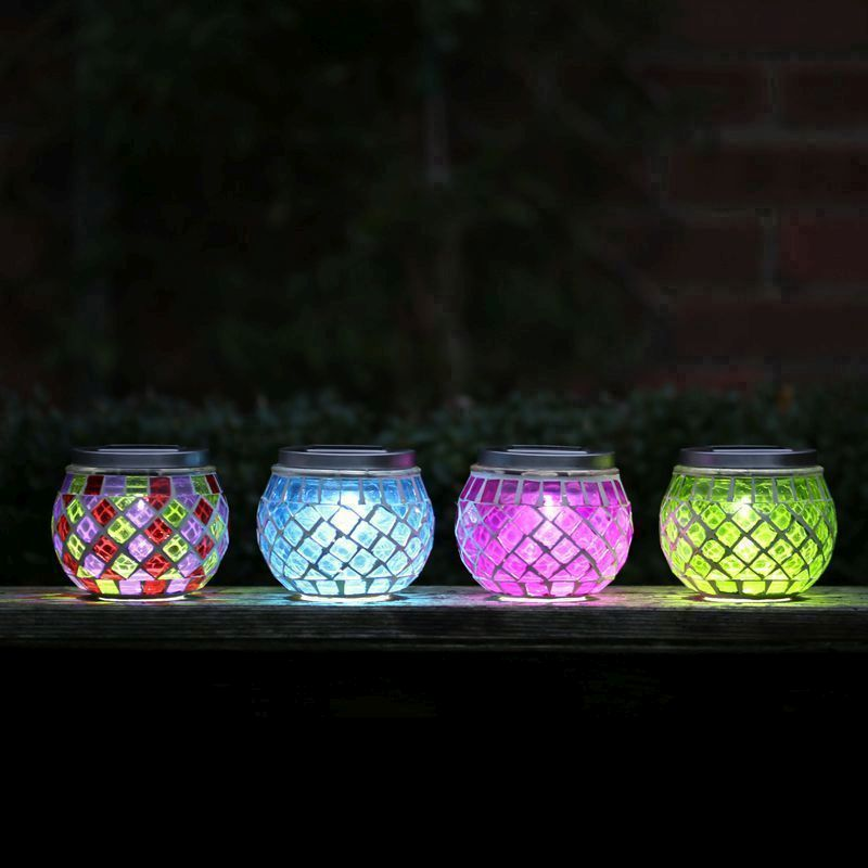 Mosaic Table Pink Solar Lights