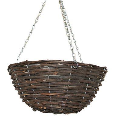 12 Inch Hanging Rattan Basket Black