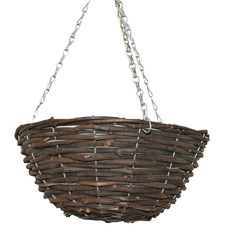 "Black Rattan Basket (12"")"