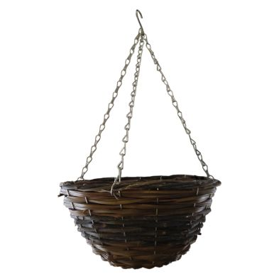 12 Inch African Hanging Basket - Two Tone Rattan Design