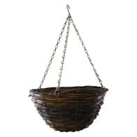 See more information about the 12 Inch African Hanging Basket - Two Tone Rattan Design