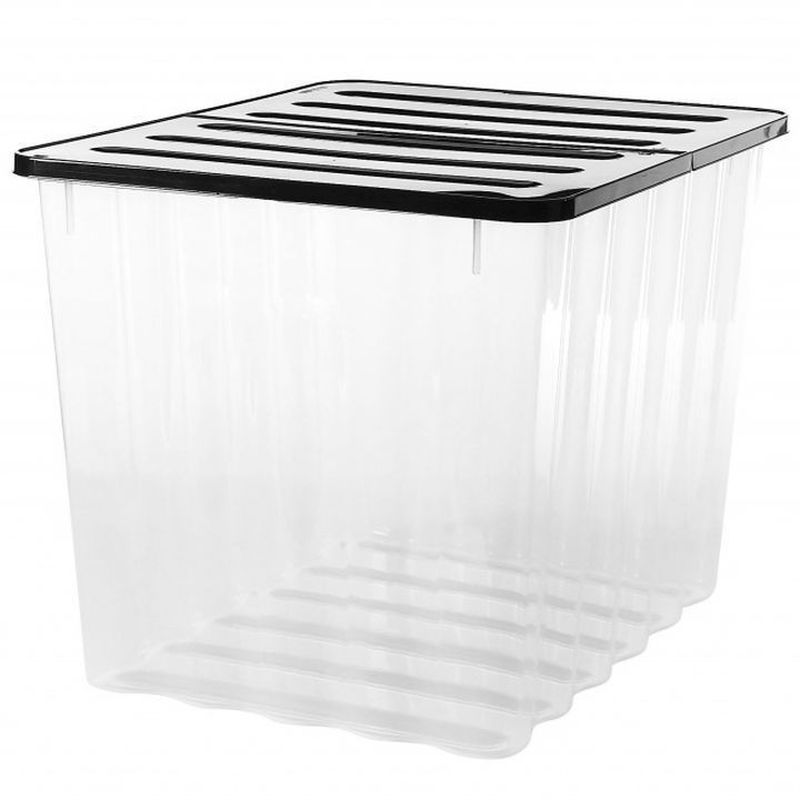 2 Pack x 110L Strata Supa Nova Extra Large Plastic Storage Box Clear
