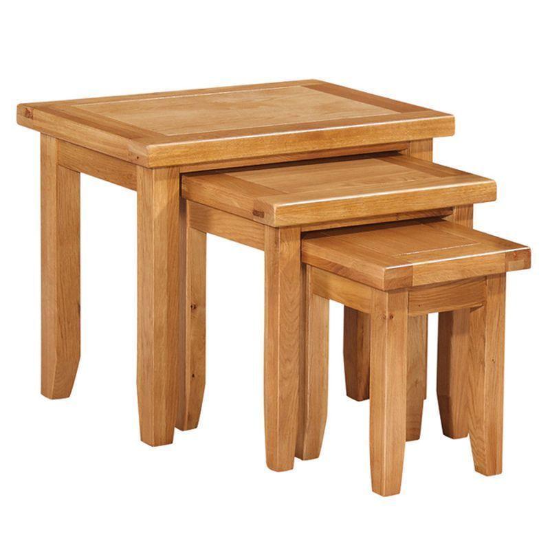 cotswold oak nest of tables buy online at qd stores. Black Bedroom Furniture Sets. Home Design Ideas