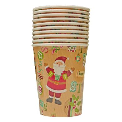 Christmas Paper Cup 10 Pack - Christmas Text