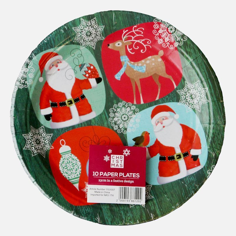 Large Christmas Paper Plates 10 Pack - Santa And Rudolph Design  sc 1 st  QD Stores & Large Christmas Paper Plates 10 Pack - Santa And Rudolph Design ...