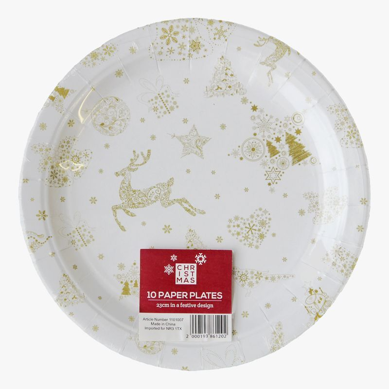 Christmas Paper Plates.Large Christmas Paper Plates 10 Pack Reindeer Design