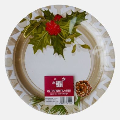 Large Christmas Paper Plates 10 Pack - Poinsettia Design