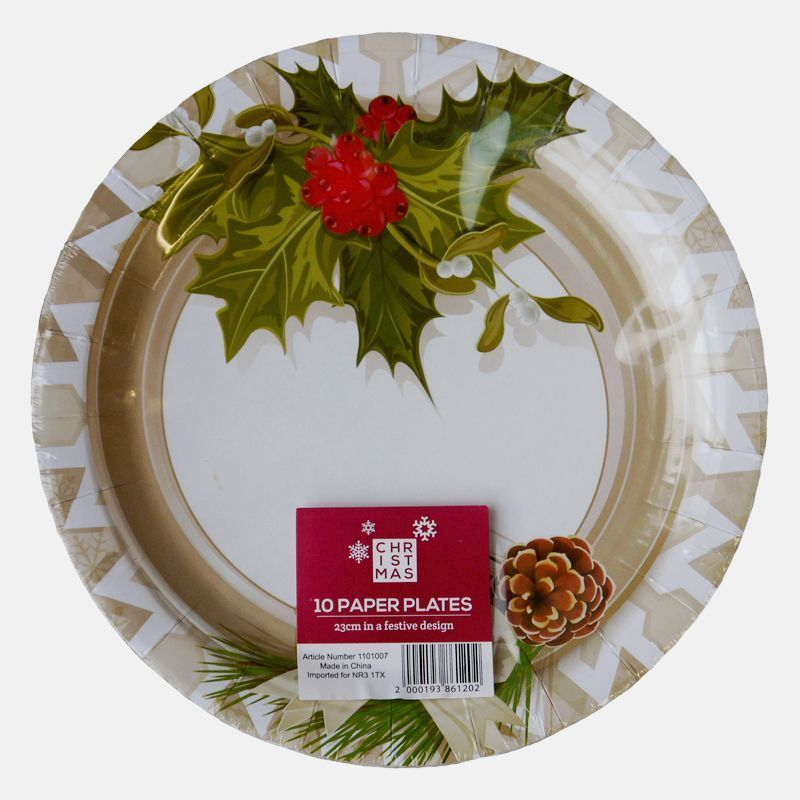 Christmas Paper Plates.Large Christmas Paper Plates 10 Pack Holly Design