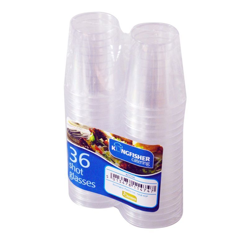 Kingfisher Party Plastic Shot Glasses (Pack 36)