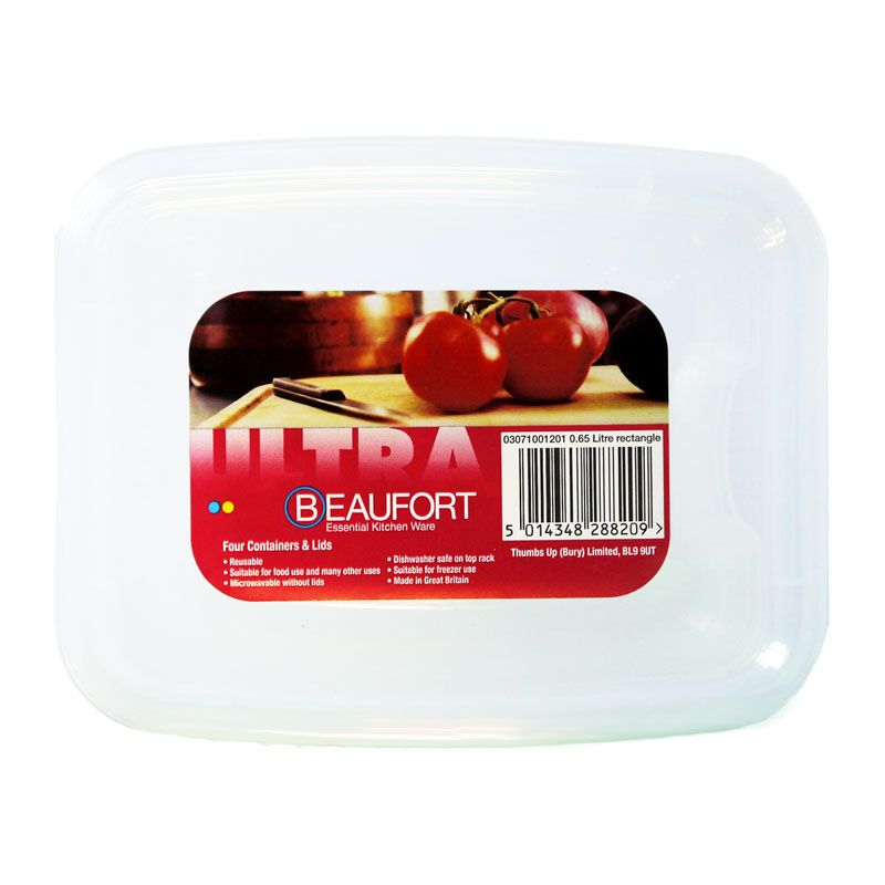Beaufort Pack of 4 0.65 Litre Square Food Containers
