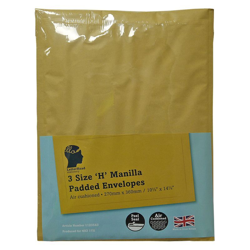 LetterHead 3 Pack Manilla Padded Envelopes Size H/5