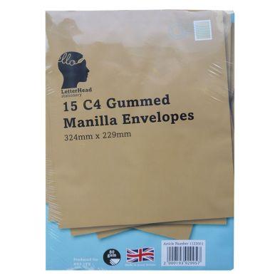 15 Manilla Gummed Envelopes 80 gsm Size C4