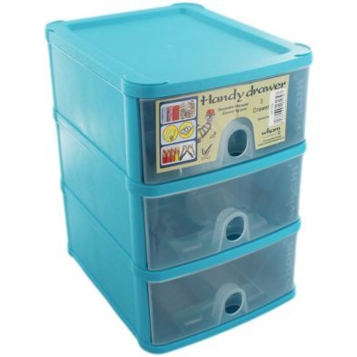1.4L Premier 3 Drawer Plastic Storage Tower Clear & Blue