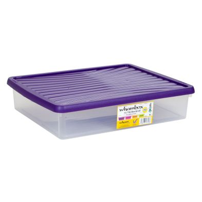 14.75L Wham Underbed Stacking Plastic Storage Box Clear & Purple Lid