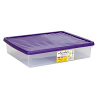 See more information about the 14.75L Wham Underbed Stacking Plastic Storage Box Clear & Purple Lid