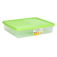 See more information about the 14.75L Wham Underbed Stacking Plastic Storage Box Clear & Green Lid