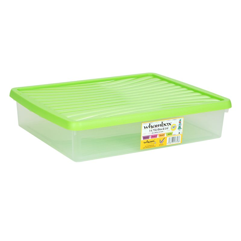 14.75L Wham Underbed Stacking Plastic Storage Box Clear & Green Lid
