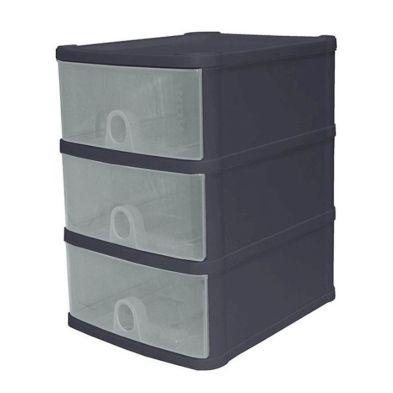 14L Premier 3 Drawer Plastic Storage Tower Clear & Black