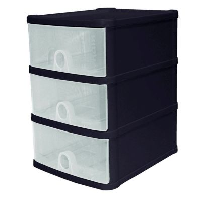 14L Premier 3 Drawer Plastic Storage Tower Clear & Black