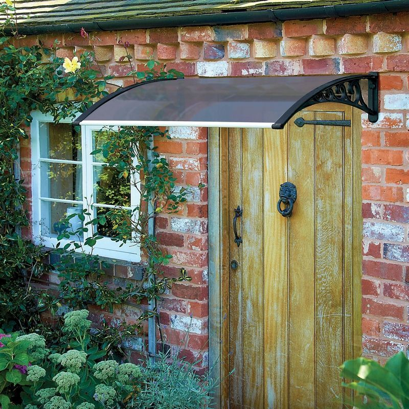 Tinted Door Garden Canopy Black 1m