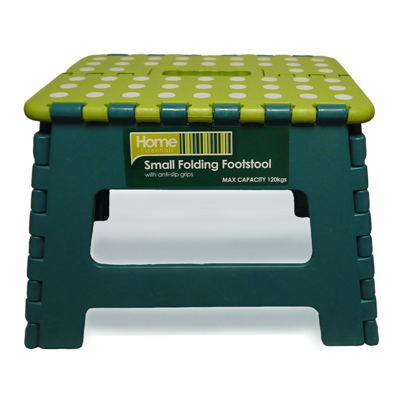 Astounding Home Essentials Small Folding Stool Green With White Spots Caraccident5 Cool Chair Designs And Ideas Caraccident5Info