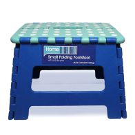 See more information about the Home Essentials Small Folding Stool - Blue With White Spots