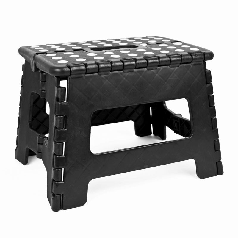 Superb Home Essentials Small Folding Stool Black With White Spots Caraccident5 Cool Chair Designs And Ideas Caraccident5Info