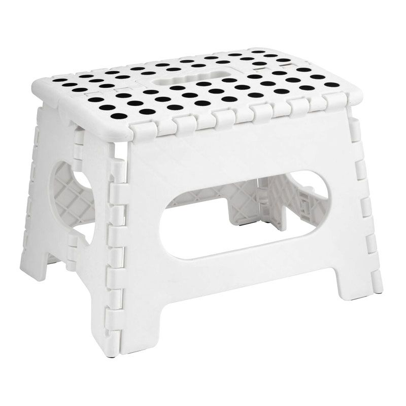 Home Essentials Small Folding Stool - White With Black Spots