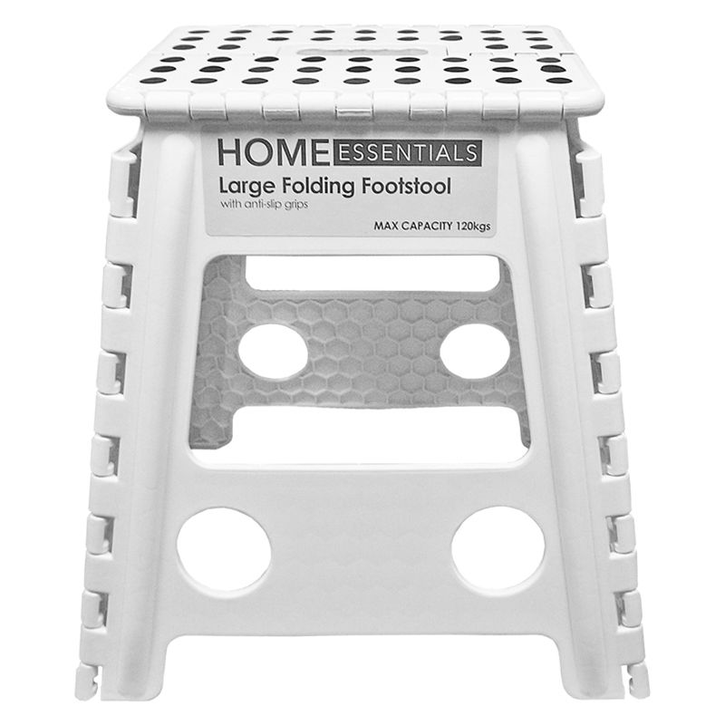 Home Essentials Large Folding Stool - White With Black Spots