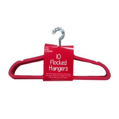 10 Pack of Flocked Hangers - Red