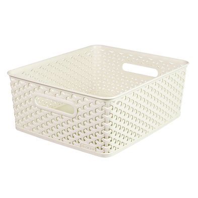13L Curver My Style Rattan Basket Medium - White