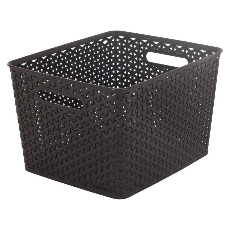 18L Curver My Style Rattan Basket - Dark Brown