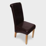 See more information about the London Wave Back Dining Chair Brown & Faux Leather