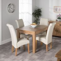 See more information about the Cotswold Oak Dining Table Set With 4 Cream London Wave Back Chairs
