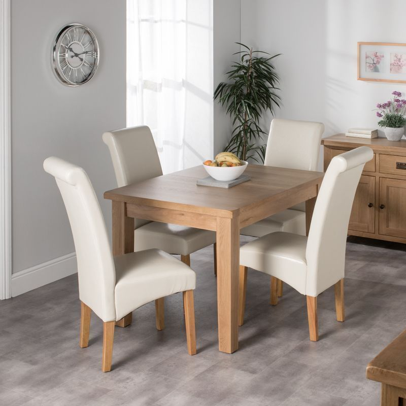 Cotswold Oak Dining Table Set With 4 Cream London Wave Back Chairs Buy Online At Qd Stores