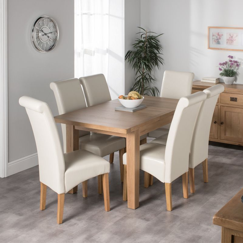Cotswold Oak Medium Dining Table Set With 6 Cream London Chairs