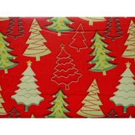 "See more information about the Festive Table Cloth Flannel Backed 70"" Diameter Red Trees"