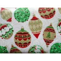 "See more information about the Festive Table Cloth Flannel Backed 52"" x 52""  White Baubles Design"