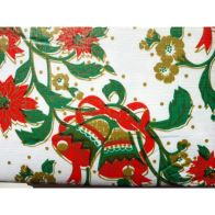 "See more information about the Festive Table Cloth Flannel Backed 52"" x 52""  White Bells Design"